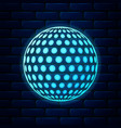 glowing neon golf icon isolated on brick wall vector image vector image