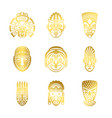 gold tribal mask icons ethnic masks vector image vector image