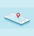 gps navigation or route with check-in symbol on vector image