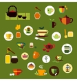 Green black and herbal tea flat icons vector image vector image