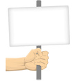 Hand Holding Blank Board vector image vector image
