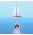 hungry shark attack yacht ship from ocean vector image vector image