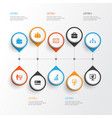 job icons set collection of hierarchy vector image vector image