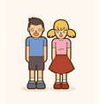 little boy and girl standing together vector image