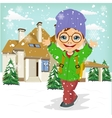 little boy playing with snow vector image