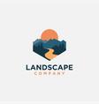 mountain and river landscape adventure logo icon vector image vector image