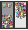 Music party kawaii banners Musical instruments vector image vector image