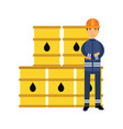 oilman character in a blue uniform standing next vector image vector image