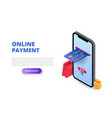online payment design concept with sitting man vector image