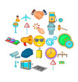 order transport icons set cartoon style vector image