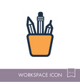 pencil stand outline icon workspace sign vector image vector image