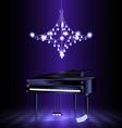 piano in the dark room vector image vector image