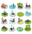 pollution isometric icons collection vector image vector image
