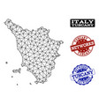 polygonal network mesh map of tuscany vector image vector image