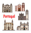 portuguese travel landmark icon for travel design vector image vector image