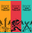 rock music forever set creative colorful banners vector image