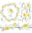 round frame with pretty yellow daffodils festive vector image vector image