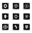 Shield icons set grunge style vector image vector image