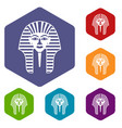 tutankhamen mask icons set hexagon vector image vector image