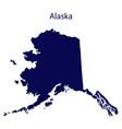 united states alaska dark blue silhouette vector image