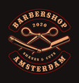vintage for barber shop theme with scissors and vector image vector image