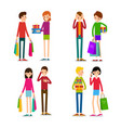 woman and man with shopping bags young people vector image vector image