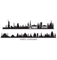 world skyline landmarks silhouette vector image