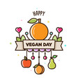 world vegan day of fruit vector image