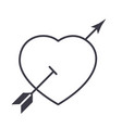 love heart with arrow line icon sign vector image