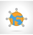 Global connection flat color icon vector image