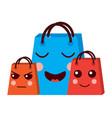 kawaii set gift shop bag cartoon vector image