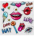 fashion patch badges with lips hearts speech vector image