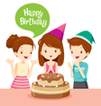 Girl And Friend With Cake On Birthday Party vector image