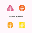 a-letters and human hand icon with wrench logo vector image