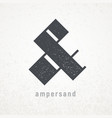 ampersand elegant symbol on grunge vector image vector image