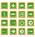 arrow icons set green vector image vector image