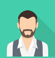 bearded man icon flat style vector image vector image