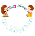 Boy Girl And Icons With Birthday Circle Frame vector image vector image