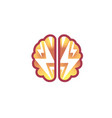 brain flash thunder logo vector image vector image