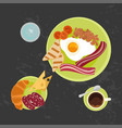 breakfast on black background vector image vector image