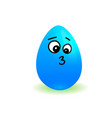 cartoon blue easter egg cute smiling isolated on vector image