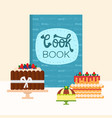 cartoon cookbook and chocolate and berries cakes vector image