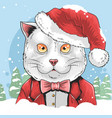cat christmas with santa claus hat artwork vector image