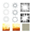 collection of sunrays and starburst set vector image