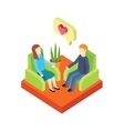 Couple Love in Armchair 3d Isometry vector image
