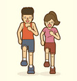 couple running together marathon running graphic vector image
