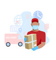 courier in medical mask and gloves vector image vector image