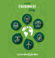 environment day green planet help icon card vector image vector image