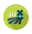Field with a mill and wheat flat icon vector image