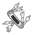folding knife with hand gestures sketch engraving vector image vector image